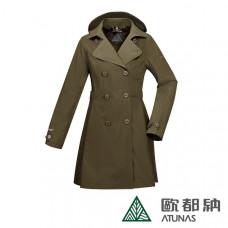 Atunas 歐都納 防水 防風 透氣 女 Gore-Tex都會時尚+羽絨 2in1大衣-深橄綠 A-G1720W