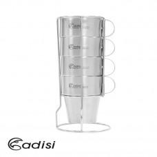 Adisi 生活家雙層不銹鋼杯組含收納架4入 AS10123