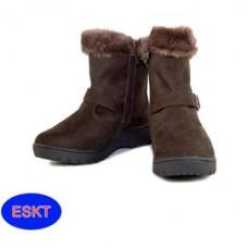 ESKT 女 短筒麂皮雪鞋-黑/咖啡 SN211