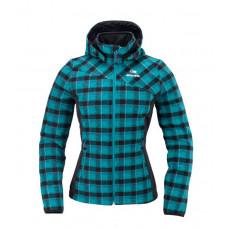 Eider 女 格紋羊毛防風連帽外套 紫/藍綠 2EIV2102