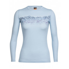 Icebreaker 頂極美麗諾羊毛 涼爽羊毛 女 Oasis 圓領長袖衣(BF200)-(彩色山脈)冰藍/野玫紅 IB103919