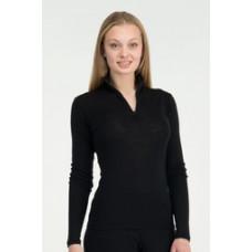 Icebreaker 頂極美麗諾羊毛 女素面半開襟長袖上衣(ED200)-黑 IB100180-001