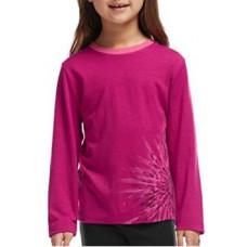 Icebreaker 頂極美麗諾羊毛 兒童雛菊圓領長袖上衣(JN200)-覆盆莓紅 IB102938-601