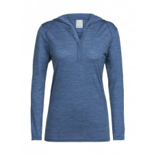 Icebreaker 頂極美麗諾羊毛 涼爽羊毛 女 Cool-lite長袖連帽衣(JN130)-藍灰 IB104199-402