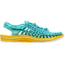 Keen Uneek 女 彈性編織涼鞋-淺藍/黃 1013093