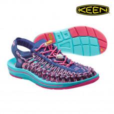 Keen Uneek 女 彈性編織涼鞋-深藍/粉紅 1014720