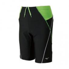 MIZUNO 美津濃 Fitness 五分泳褲(附內裡)-黑/綠 N2JB760298
