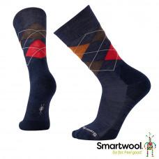 Smart Wool 美國 男 鑽石稜格中長襪-深海軍藍 SW0SW819-863
