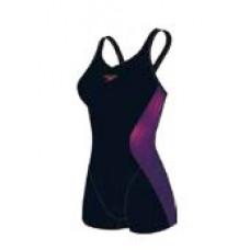 Speedo 女 運動連身平口 Speedo Fit Extra-黑/紫 SD810397B022