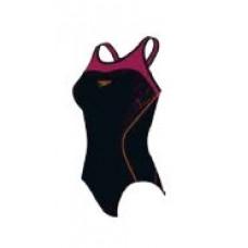 Speedo  女 運動連身泳裝 Speedo Fit KB 黑/紅 SD810401A602