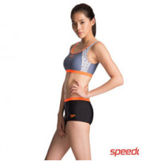 Speedo 女 運動兩截式平口 Spark AL Panel -灰/橘/黑 SD811448C274