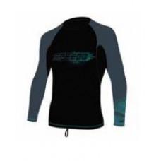 Speedo  長袖防曬衣 Fashion-黑/綠Logo SDSOJ17005BK