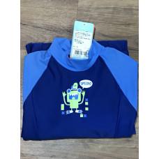 Speedo 童 全身包覆長袖長褲防曬衣-深藍/藍 Color Block SD8092409244