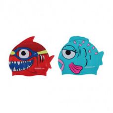 Speedo 兒童矽膠泳帽 SD808769B267A 鯊魚紅 SD808769B267B金魚藍