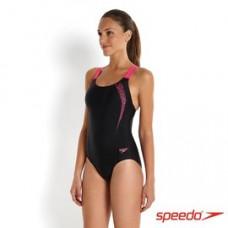 Speedo 女 運動連身 Sports Logo Medalist-黑/粉紅 SD809751A593