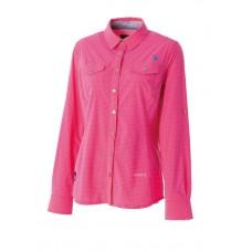 WILDLAND 荒野 女 彈性格子布長袖襯衫-桃紅 0A51205-09