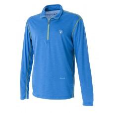WILDLAND 荒野 男 彈性抗UV長袖開襟衫-寶藍/灰 0A51628