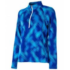 WILDLAND 荒野 女 彈性印花抗菌除臭開襟衫(水波點)-寶藍 0A52605-70