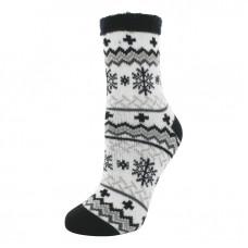 YAKTRAX 厚絨刷毛保暖襪-雪花黑 YA105-057