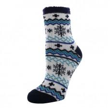 YAKTRAX 厚絨刷毛保暖襪-雪花藍 YA105-101