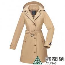 ATUNAS 歐都納 女 都會時尚G/T+羽絨2in1長版大衣-卡其 A-G1825W-KA