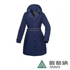 Atunas 歐都納 防水 防風 透氣 女GORE-TEX 都會時尚長版G.T.+羽絨二件式大衣 深藍/卡其 A-G1638W