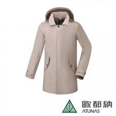 Atunas 歐都納 防水 防風 透氣 男GORE-TEX 都會時尚長版G.T.+羽絨二件式大衣 黑/卡其 A-G1666M