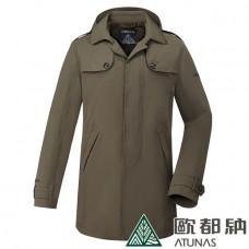 Atunas 歐都納 防水 防風 透氣 男 Gore-Tex都會時尚+羽絨 2in1大衣-深橄綠 A-G1719M