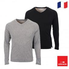 Eider 男 排汗機能型保暖V領上衣(盒裝) 黑/淺灰 EIT1692