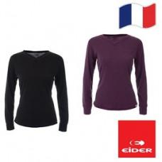 Eider 女 排汗機能型保暖V領上衣(盒裝)-黑/紫 EIT2693
