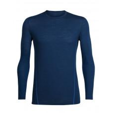 Icebreaker 頂極美麗諾羊毛 涼爽羊毛 男 Aero 圓領素色長袖衣(GT120)-靛藍/火紅 IB103957