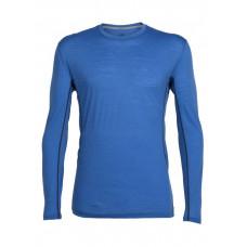 Icebreaker 頂極美麗諾羊毛 涼爽羊毛 男彈性圓領配色長袖衣(GT120)-洋藍 IB101297-403