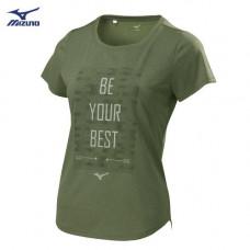 MIZUNO 美津濃 女路跑短袖T恤-橄欖綠 32TA820338