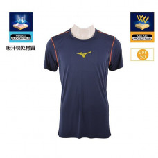 MIZUNO 美津濃 男短袖路跑T恤-藍/螢光黃 J2TA6008