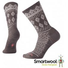Smart Wool 美國 女 蕾絲鑲紋中長襪-灰褐 SW000058-236
