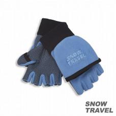 Snow Travel 雪之旅 WINDBLOC 防風保暖半指兩用手套(水藍色) ST-AR47-SK