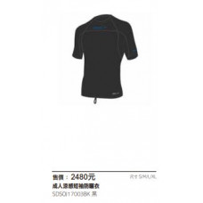 Speedo  成人涼感短袖防曬衣-黑 SDSOJ17003BK