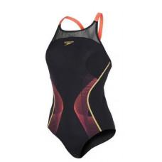 Speedo  女 運動連身泳裝 Speedo Fit Pinnacle XB 黑/紅 SD810398B024