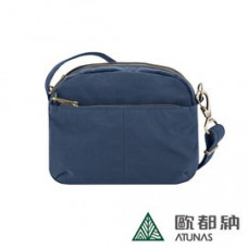 Travelon 美國 Signature 防盜小斜背包-海藍 TL-43327-BL