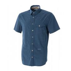 WILDLAND 荒野 男 彈性格子布短袖襯衫-深藍 0A51208-72